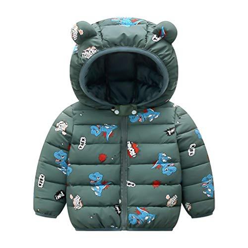 PROTAURI Kinder Winterjacke, Jungen Mädchen wasserdichte Jacke Kleinkinder Leichte Outfits Oberbekleidung mit süßem Ohr Kapuze Gelb 4-5 Jahre