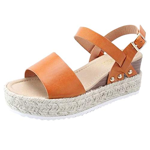 Fantastic Deal! COPPEEN Women Sandals Women Summer Fashion Sandals Buckle Strap Wedges Platform Retro Peep Toe Sandals Orange