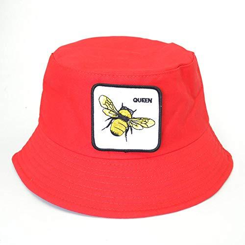CFCYS Fischerhüte Für Damen,Rote Mode Flache Fischer Hut Sommer Bienen Bang Stickerei Vintage Eimer Hut Männer Frauen Hip Hop Panama Sonnenhut