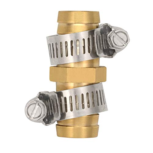 Gardening Will 5 Pack Brass Barb Straight Joiner 5/8 Hose Fitting Air Water Repair Splicer Mender with Clamps