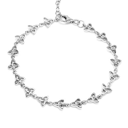 Silvershake 925 Sterling Silver Triquetra Celtic Knot 7.5 Plus 1.5 Inch Extension Bracelet