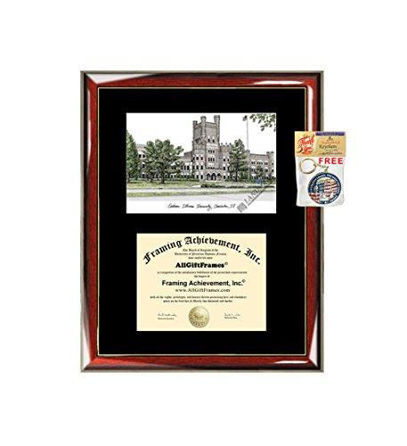 Eastern Illinois University EIU Diploma Frame Lithograph - Premium Wood Glossy Prestige Mahogany with Gold Accents - Single Black Mat - University Diploma Frame