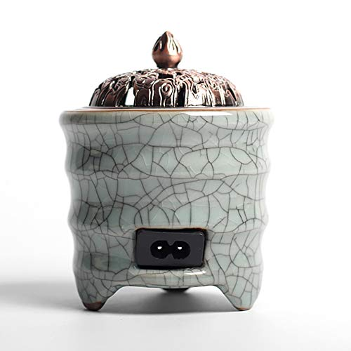 Ceramic Incense Burner Brûleur d'encens en céramique électrique, minuterie de brûleur d'huile Essentielle d'aromathérapie, Porcelaine pour la Maison, Balcon, Patio, Porche et Jardin