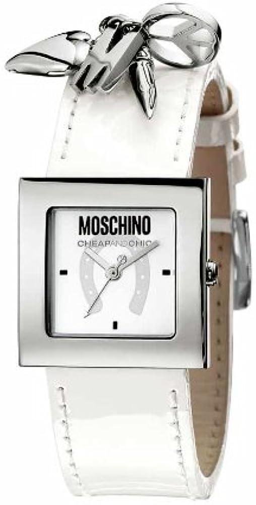 Moschino orologio da donna cassa in acciaio inossidabile e cinturino in vera pelle MW0026