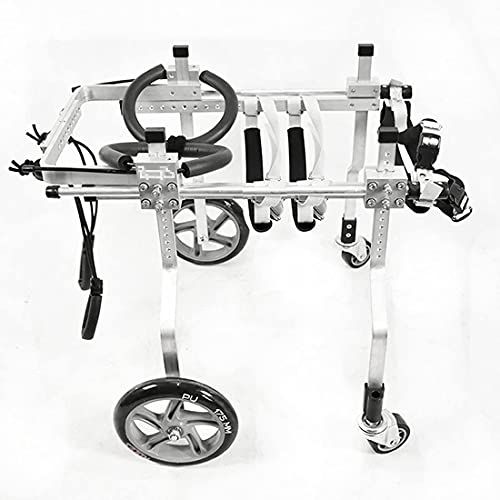 FXBFAG Sedia a rotelle per Cani Carrello per Cani a 4 Ruote Regolabile Ruote per Esercizi per Animali Camminata assistita Telaio di Supporto per Auto per disabili e paralizzati Animali Domestici/ca