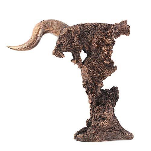 OH Estatuas Decoración Del Hogar Decoración de Animales Estatua, Skull And Horns Wall Sculpture Tribal Tallado Skull Statue Decoración de Escritorio de la Casa fuerte