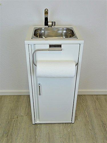Lavabo portátil blanco, incluye fregadero de acero inoxidable con soporte para rollo...