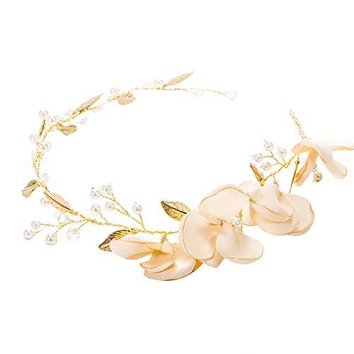 Sanwood Bandeau pour cheveux de mariée, élégant pour fête de mariage, fleurs, feuilles de fausses perles, bandeau de coiffure pour fête de mariage