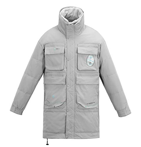 MMCICI Mens Down Jackets Winter Warm Windproof Long Coats Casual Fashion Plush Stand Collar Outerwear Gray