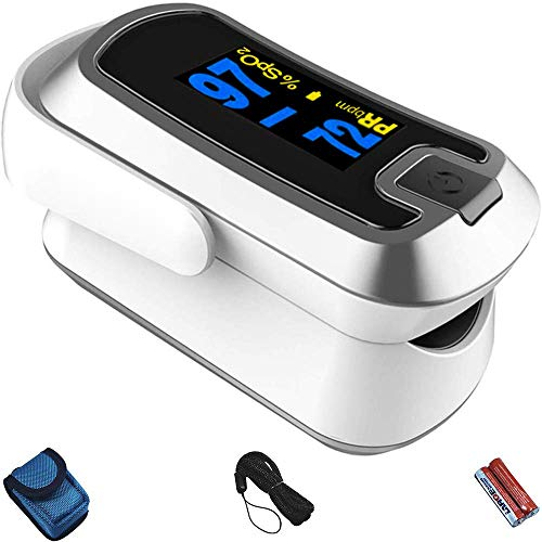 mibest Silver Dual Color OLED Finger Pulse Oximeter - Blood Oxygen...