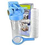 FILTROTECH 10 Zoll Wasserfilter Pumpen Vorfilter Nachfilter Anschluss 1/2' Filter für Gartenpumpen und Hauswasserautomaten mit Filtereinsatz (Faser-Filter)