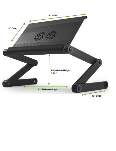 "Uncaged Ergonomics WorkEZ Executive Adjustable Ergonomic Laptop Cooling Stand Lap Desk for Bed Couch with 2 Fans & 3 USB Ports folding aluminum desktop riser tray height tilt angle portable macbook cooler cooling,Black, ""panel: 18"" by 11"""" (WEEFHb) Photo #7"