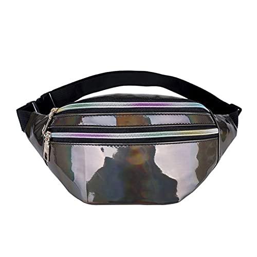 Bianlang Bolsa de cinturón láser para mujer, diseño holográfico, riñonera linda, bolsa para el teléfono para viajes de fiesta (color marrón oscuro)