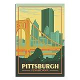 ZHBIN Pennsylvania Vintage-Reise-Poster, Pittsburgh Bridge,