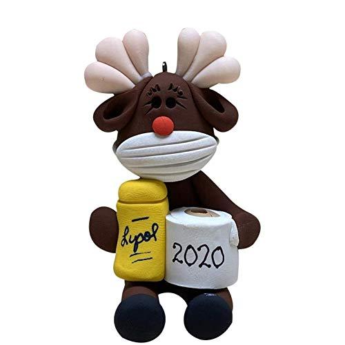PHLPS Linda sobrevivencia Animal Colgante decoración con Cara de Cara y sosteniendo 2020 Souvenirs Ornamento de la Navidad de la Cara de la Cara Que Lleva y sosteniendo el Papel higiénico