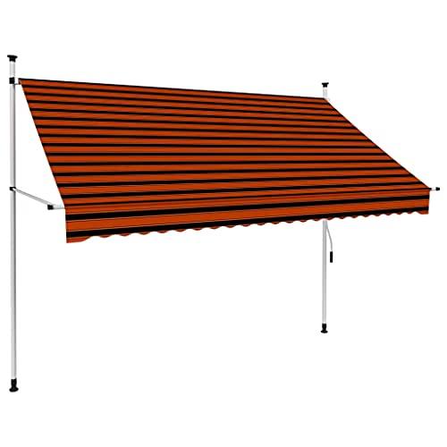 vidaXL Toldo Manual Retráctil de Brazo Plegable Exteriores Dar Sombra a Jardín Balcones Terrazas Extensible Ajustable 250cm Naranja y Marrón
