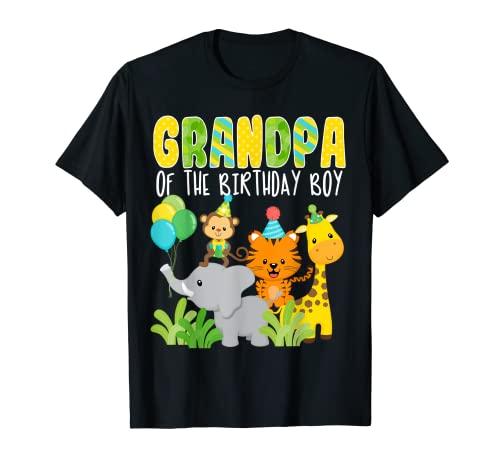 Tema del Abuelo del Cumpleaños Niño Zoo Tema Cumpleaños Safari Jungle Camiseta