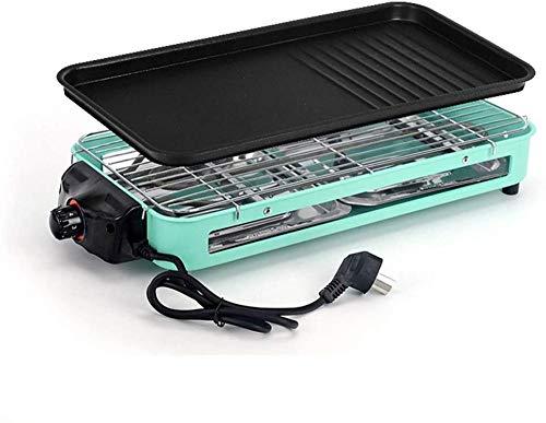 Anti-aanbak Elektrische Teppanyaki Grillplaat Elektrisch Binnen Rookvrij met Verwisselbare Grillplaat met 2 Lekbakken met 5 Niveaus Instelbaar Temperatuurverdelingsontwerp Gemakkelijk te wassen 1500