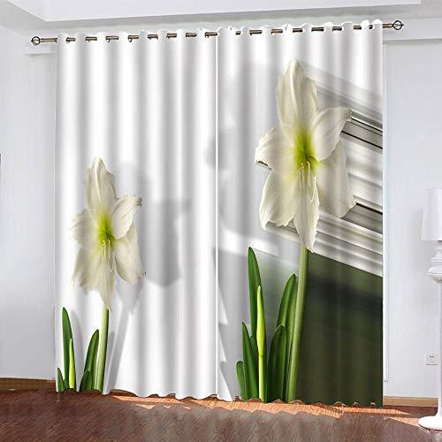 DRFQSK Cortinas Habitacion Opacas 2 Piezas con Ojales 3D Ramo De Lirios De Moda Cortinas Termicas Aislantes Frio Y Calor para Salón Dormitorio Decoración De La Ventana 150 X 270 Cm(An X Al)