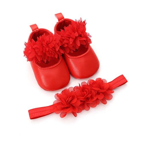 Zapatos de Niña con Diadema Regalo Set Pare Bebé Bautizo Flor Suave Suela Zapatillas Antideslizantes Zapatos de Princesa (0-6 Meses, Rojo, Tamaño de Etiqueta 11)