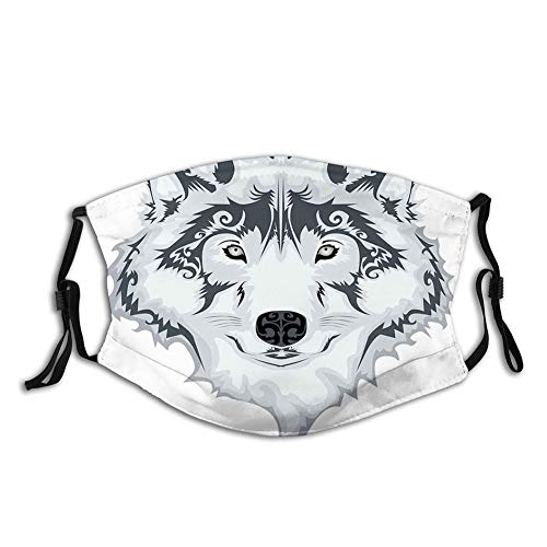 Usicapwear Fashion 3D Face Protect Printed Gesichts-Mundschutz,The Majestic Beast Creature Head of a Wild Wolf Tribal Tattoo Design Art Print