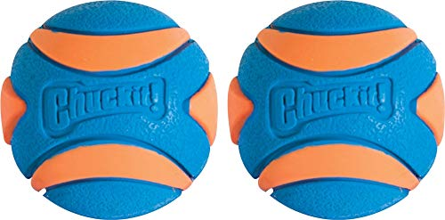 Chuckit! Ultra Squeaker Dog Ball High Bounce, Blue/Orange, Small, 2 Count (Pack of 1)