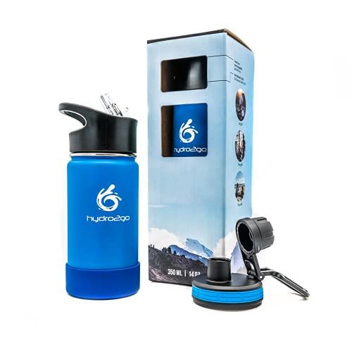 hydro2go® Biberón infanti de Acero Inoxidable - 350ml   Botella Termo de Acero Inoxidable sin BPA para niños + 2 Tapones para Beber   Botella Infantil 100% estanca   Cierre de Paja y Deportivo