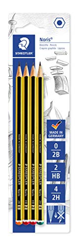 Staedtler 120-S BK4D - Matite Noris, durezze assortite (2B-HB-2H), confezione da 4 pz