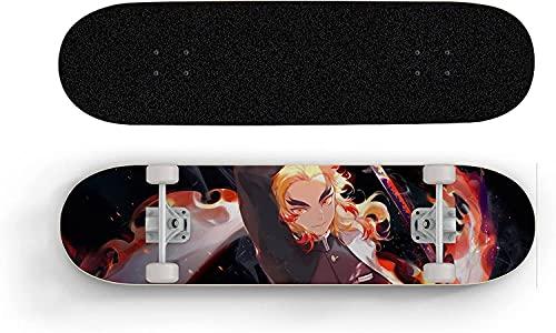 Nixi888 Anime Skateboard para Demon Slayer Rengoku Kyoujurou Flame, Mini Cruiser, Monquinaria De Arce De 7 Capas, Rodamiento De Carga 100 Kg, Scooter De Calle De Caminos para Principiantes