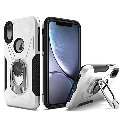 UNC Pro 2 in 1 Cell Phone Case with Bottle Opener Kickstand for iPhone XR, TPU Hybrid Shockproof Bumper Anti-Scratch Dual Layer Case, Silver