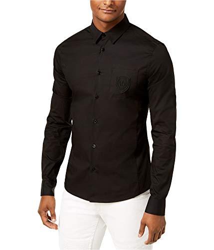 Versace Mens Logo Button Up Shirt, Black, X-Small