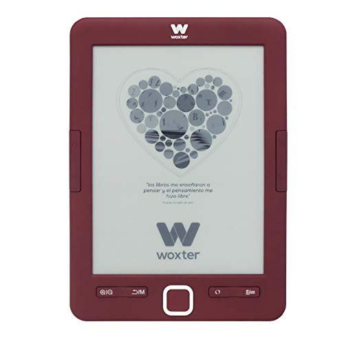 "Woxter Scriba 195 Paperlight Red - Lector de Libros Electrónicos de 6"" (1024 x 758, E-ink pearl, Pantalla RETROILUMINADA, EPUB, PDF, Micro SD, guarda más de 4000 libros, Textura engomada) Color Rojo"