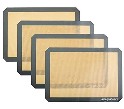 Amazon Basics Silicone, Non-Stick, Food Safe Baking Mat - Pack of 4