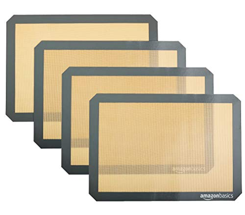 Amazon Basics Silicone, Non-Stick, Food Safe Baking Mat - Pack of 4