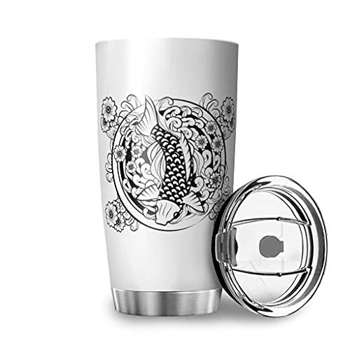 Harneeya Tumbler Japanese Fish Stainless Steel Coffee Mug Tattoo Tea Cup for Home/Travel/Car 20oz White 20oz