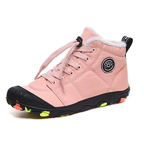 Botas de Invierno Niños Botines de Nieve Fur Calentar Botas Antideslizantes Al Aire Libre Sneakers Zapatos Rosado 34EU = 35CN