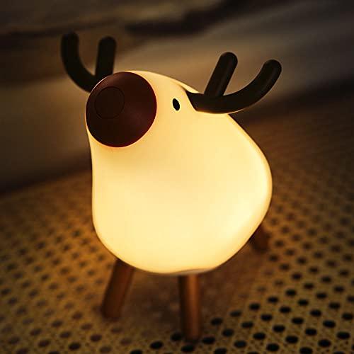 USERWATS トナカイナイトライト 無段階 調光 安全なシリコン 昼白色/温白色、お好みで自由に 定時消灯 USB充電 24時間以上連続時間 癒されたプレゼント ベッドサイドランプ 間接照明 赤ちゃんの玩具 台湾のブランド