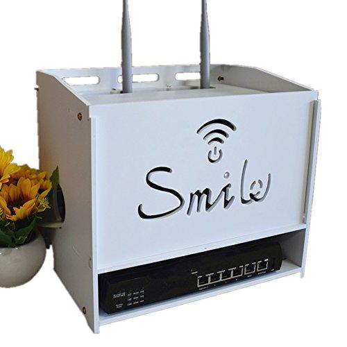 Xichengshidai Multi tamaño WiFi Router Cajas de Almacenamiento Estante, Blanco, D
