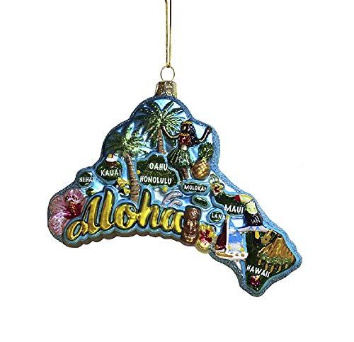 Kurt S. Adler 5-Inch Glass Hawaii Ornament, Multi