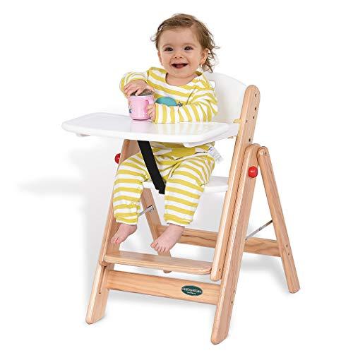 Chaise Haute RéGlable en Hauteur pour BéBé avec Harnais à 2 Points Baby Bouncer + Plateau + Coussin pour Chaise Haute - Naturel, pour Maison Commerciale