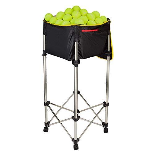 HIRAM Carrello da Tennis con Ruote capacità 160 Palline/20 kg Cesto per Palline Telaio Pieghevole in Acciaio Inossidabile 80-98 cm, Borsa Staccabile Impermeabile in Tessuto Oxford (Nero)