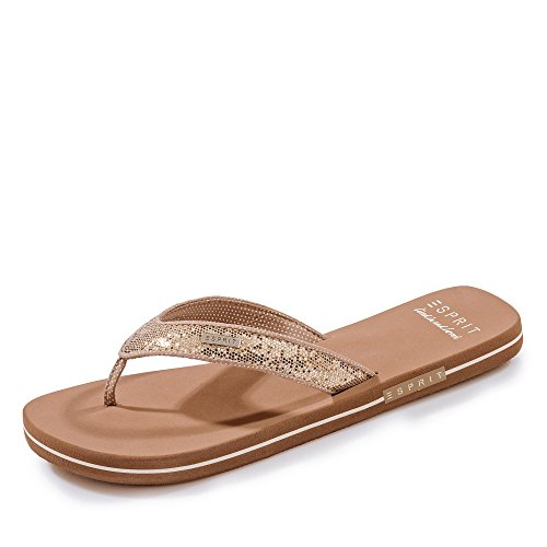 ESPRIT Damen Glitter Thongs Pantoletten Beige (Cream Beige 295), 41 EU