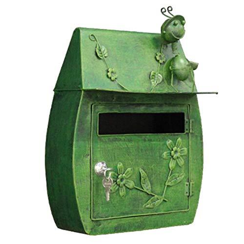 Briefkasten Wandbriefkästen Betrübt Grün Postfach, Vintage Inspirierte Shabby Chic Metall Mailbox, Wandmontage Design, für Haus/Veranda/Haustür