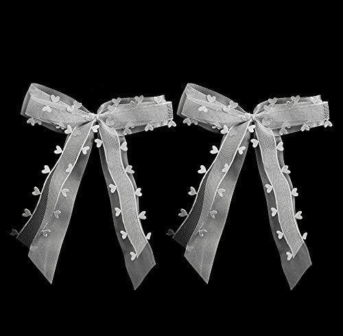 O-Kinee Autoschleifen Handgemacht Antennenschleifen Set Weiß, Party Dekoration mit Herzen Schleifen Hochzeit Handgemacht Satinband, Hochzeit Deko (35 PCS)