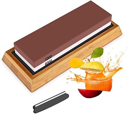 Whetstones Knife Sharpening Stone Set, Dual Grit Whetstone 1000/6000 Knife Stone, Wet Stone Knife Sharpener Set Angle Guide, Non-Slip Bamboo Base, Fix Stone Included, for Home & Kitchen