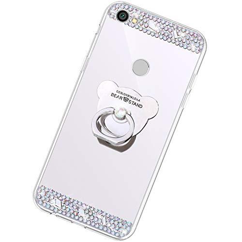 Funda Compatible con Xiaomi Redmi Note 5A.Espejo Oso Anillo Lentejuela Brillo TPU Silicona Suave Carcasa Purpurina Glitter Cover Mirror Moda Ultrafino Diamante Protective Bumper Case,Plata