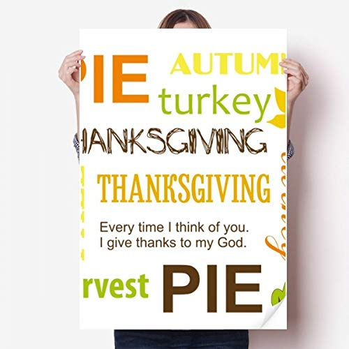 DIYthinker Thanksgiving Day Pie Automne Motif Vinyle Autocollant de Mur Poster Mural Wallpaper Chambre Decal 80X55Cm 80cm x 55cm Multicolor