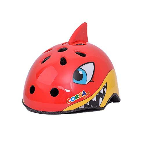 CURVEASSIST Cascos De Protección para Niños para Bicicletas Cascos para Montar Cascos Deportivos Dibujos Animados De Animales Patinaje sobre Ruedas Equipo De Protección Tiburón Rojo,Red-M