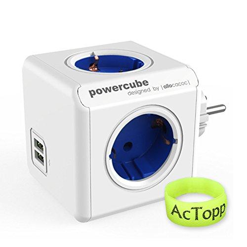 AcTopp Allocacoc Powercube Enchufe de Regleta Adaptador 4 tomas con 2 USB Puertos Forma de Cubo Ahorro de espacio Ladrón de Enchufe Color Azul