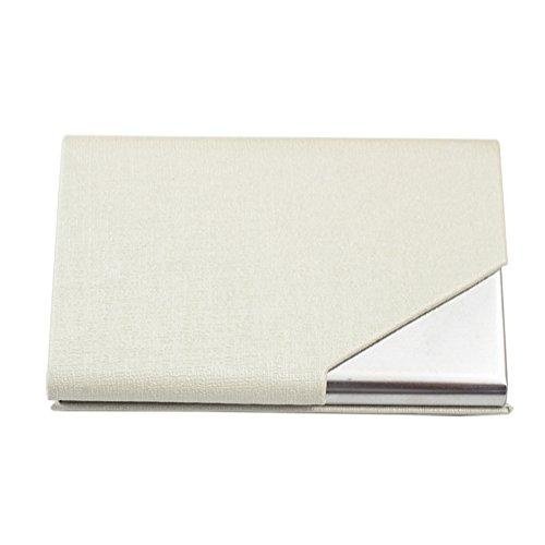 Sayes Brand Unisex-Visitenkartenhalter, Kunstleder/Edelstahl, modern, Etui für Kreditkarte, Personalausweis, Namenskarten-Box elfenbeinweiß